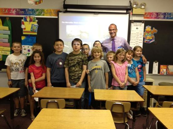 Jim Protin with 3rd graders at Fort Cherry Elem