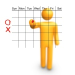 Stick Figure with empty calendar.