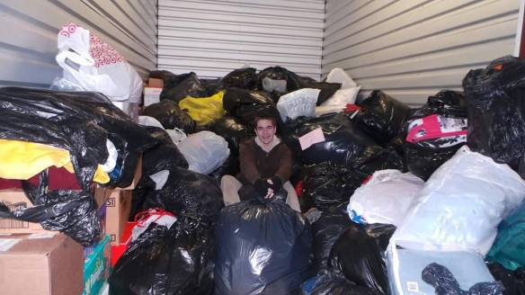 Keep Yinz Warm - Jon in truck surrounded by donations