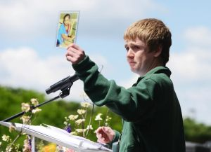 Dalton speaking at CORE holding photo