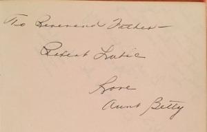 Fr. Bob aunt betty note